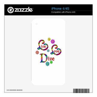 Zambullida viva del amor calcomanía para iPhone 4
