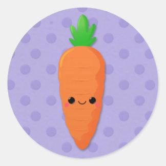 Zanahoria de Kawaii en lunares púrpuras Pegatina Redonda