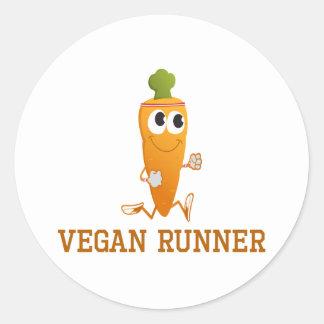 Zanahoria del corredor del vegano pegatina redonda