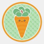 Zanahoria feliz Kawaii Pegatina Redonda