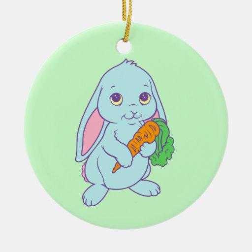 Zanahoria linda del conejo de conejito del dibujo adorno navideño redondo de cerámica