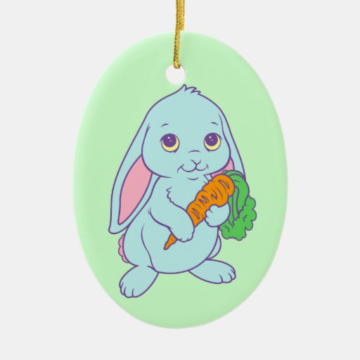 Zanahoria linda del conejo de conejito del dibujo adorno ovalado de cerámica