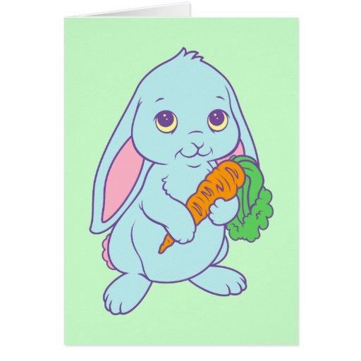 Zanahoria linda del conejo de conejito del dibujo tarjeta de felicitación