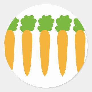 zanahorias alineadas etiqueta redonda