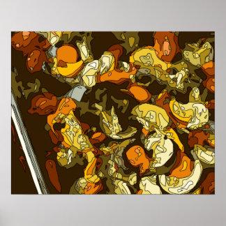 Zanahorias asadas a la parrilla calabacín y plato poster