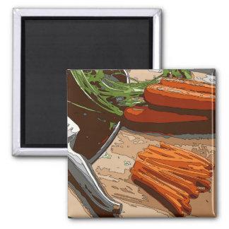 Zanahorias cebollas sabrosas y apio tajados para imán para frigorifico