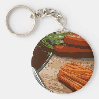 Zanahorias cebollas sabrosas y apio tajados para llavero personalizado