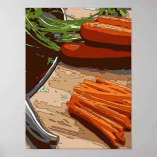Zanahorias, cebollas sabrosas y apio tajados para poster