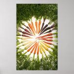 Zanahorias de muchos colores en lona póster