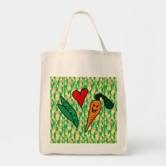 Zanahorias del amor de los guisantes, bolso de com bolsa de mano