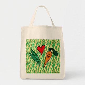 Zanahorias del amor de los guisantes, bolso de com bolsa tela para la compra