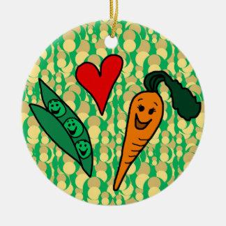 Zanahorias del amor de los guisantes, diseño verde adorno navideño redondo de cerámica