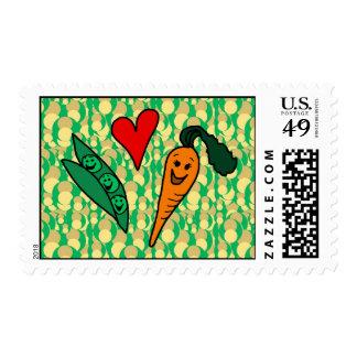 Zanahorias del amor de los guisantes, diseño verde estampillas
