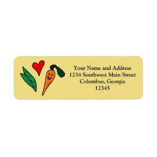 Zanahorias del amor de los guisantes, diseño verde etiqueta de remitente