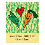 Zanahorias del amor de los guisantes, diseño verde tarjetón