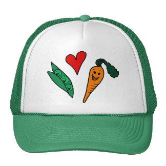 Zanahorias del amor de los guisantes, diseño verde gorras