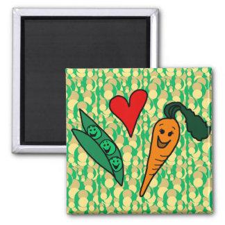 Zanahorias del amor de los guisantes, diseño verde imán cuadrado