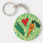 Zanahorias del amor de los guisantes, diseño verde llavero personalizado