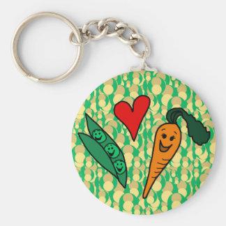 Zanahorias del amor de los guisantes, diseño verde llavero redondo tipo pin