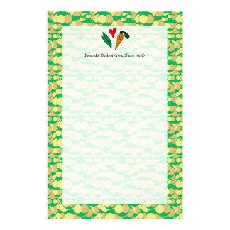 Zanahorias del amor de los guisantes, diseño verde  papeleria de diseño