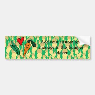 Zanahorias del amor de los guisantes, diseño verde pegatina para auto