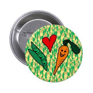 Zanahorias del amor de los guisantes, diseño verde pin redondo de 2 pulgadas