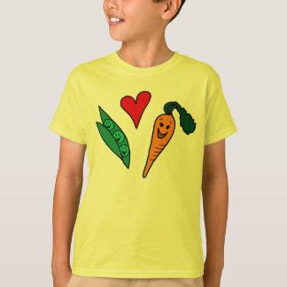 Zanahorias del amor de los guisantes, diseño verde playera