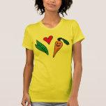 Zanahorias del amor de los guisantes, diseño verde camisetas