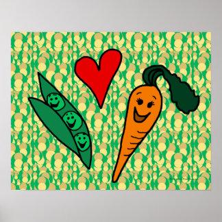Zanahorias del amor de los guisantes, diseño verde póster