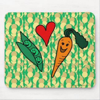 Zanahorias del amor de los guisantes, diseño verde tapete de raton