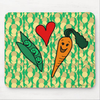 Zanahorias del amor de los guisantes, diseño verde alfombrilla de ratones