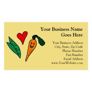 Zanahorias del amor de los guisantes, diseño verde tarjeta de visita