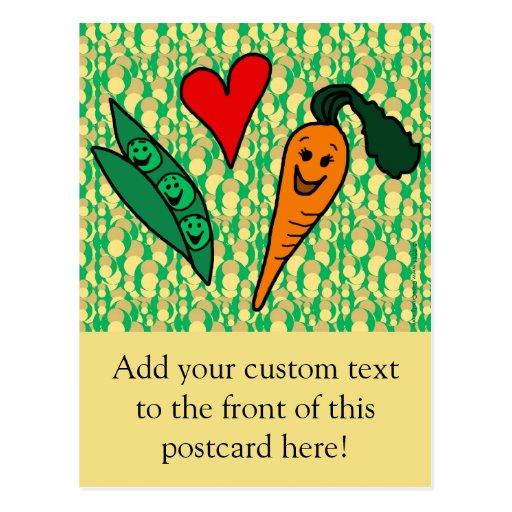 Zanahorias del amor de los guisantes, diseño verde postales