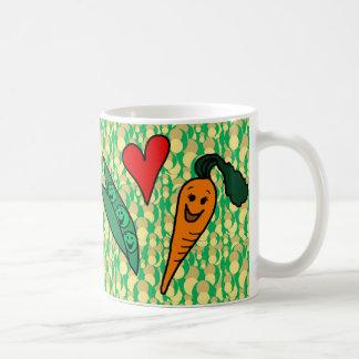 Zanahorias del amor de los guisantes, diseño verde taza
