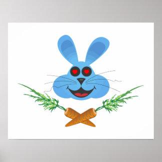 Zanahorias del conejito y de la cruz póster