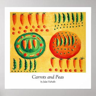 Zanahorias e impresión de los guisantes