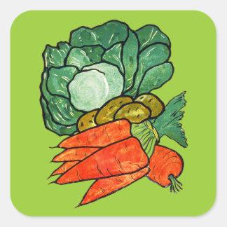 Zanahorias, lechuga y patatas pintadas a mano del pegatina cuadrada