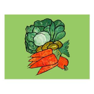 Zanahorias, lechuga y patatas pintadas a mano del tarjetas postales