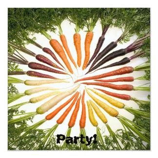 """Zanahorias multicoloras del arco iris invitación 5.25"""" x 5.25"""""""