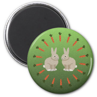 Zanahorias y conejos imán redondo 5 cm