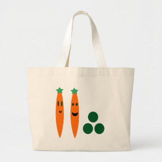 Zanahorias y guisantes bolsa tela grande