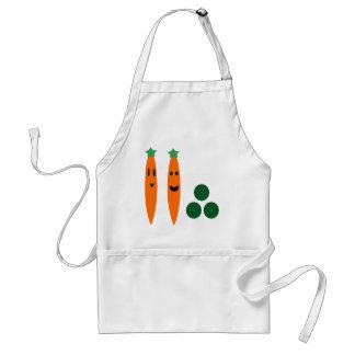 Zanahorias y guisantes delantal