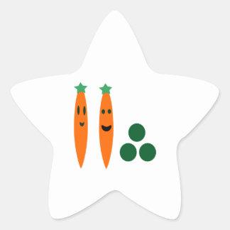 Zanahorias y guisantes pegatina en forma de estrella