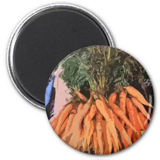 ¡Zanahorias y sus tops! Imán Redondo 5 Cm