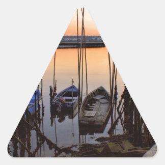 Zanco del embarcadero en el río pegatina triangular