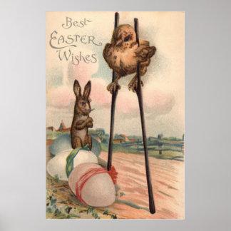 Zancos coloreados del polluelo del huevo del conej póster