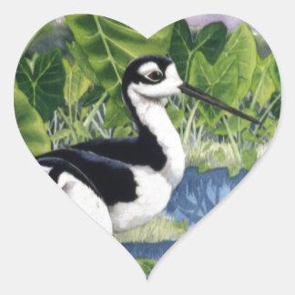 Zancos hawaianos (Ae'o) Pegatina En Forma De Corazón