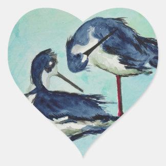Zancos que se bañan - pintura pegatina en forma de corazón