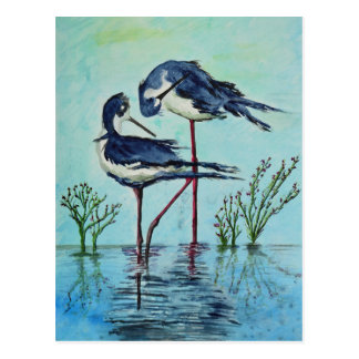 Zancos que se bañan - pintura tarjetas postales