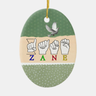 ZANE FINGERSPELLED NAME ASL SIGN CERAMIC ORNAMENT
